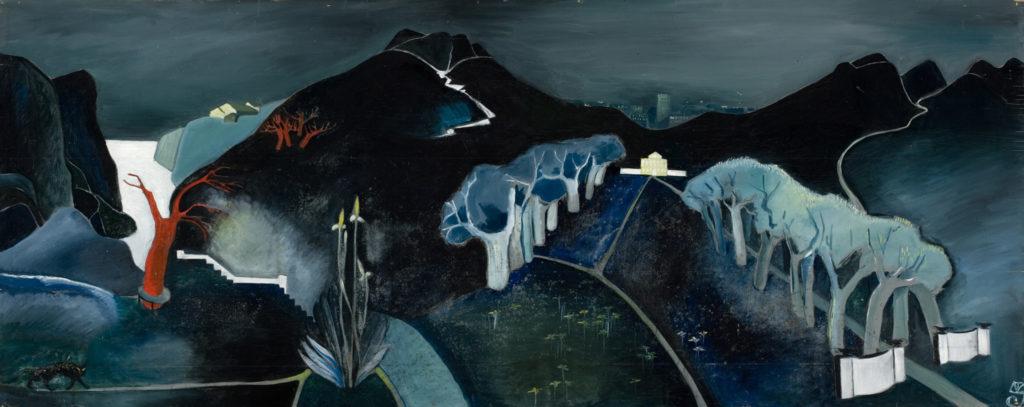 Tove Jansson: Mystiskt landskap, ca 1930. Finlands Nationalgalleri / Konstmuseet Ateneum. Bild: Finlands Nationalgalleri / Hannu Aaltonen. © Tove Janssons dödsbo