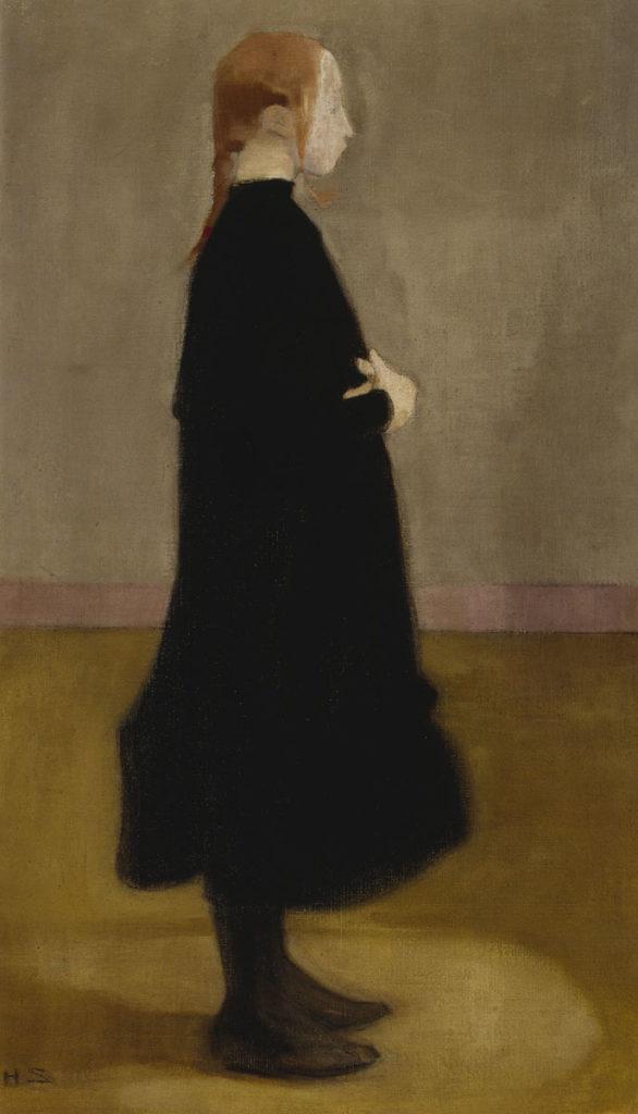 Helene Schjerfbeck: Kansakoulutyttö II, 1908. Kansallisgalleria / Ateneumin taidemuseo, kok. Hallonblad. Kuva: Kansallisgalleria / Hannu Aaltonen