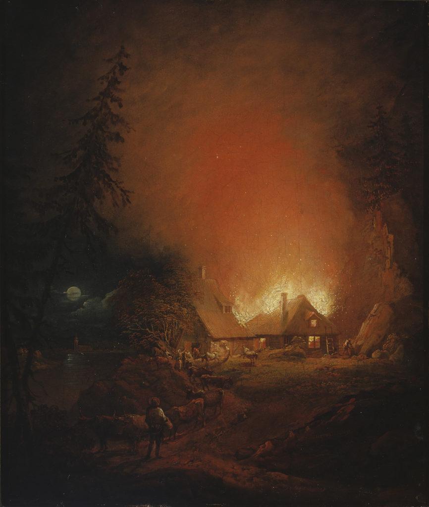 Alexander Lauréus: Tulipalo yöllä talonpoikaistalossa, 1809. Kansallisgalleria / Ateneumin taidemuseo. Kuva: Kansallisgalleria / Janne Mäkinen
