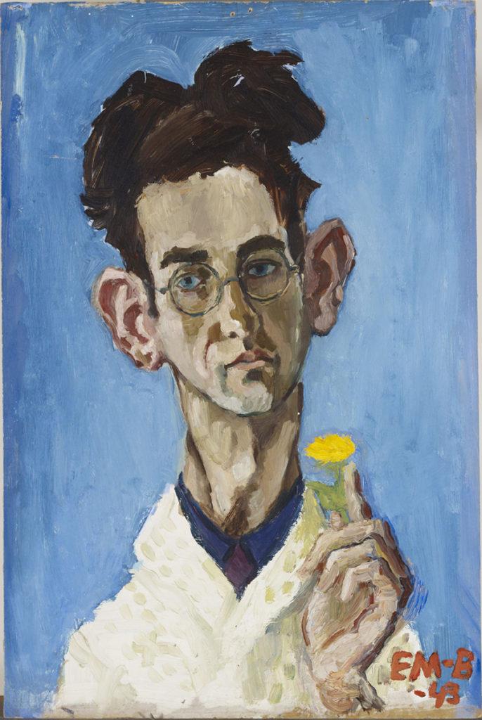 Ernst Mether-Borgström: Omakuva keltainen kukka kädessä, 1943. Kansallisgalleria / Ateneumin taidemuseo. Kuva: Kansallisgalleria / Henri Tuomi