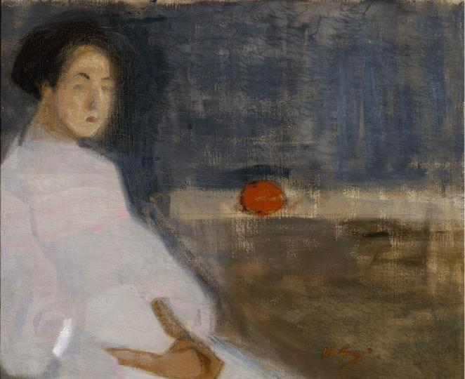 Helene Schjerfbeck: Pukukuva I, 1908-1909. Kansallisgalleria / Ateneumin taidemuseo, kok. Hoving. Kuva: Kansallisgalleria / Hannu Aaltonen