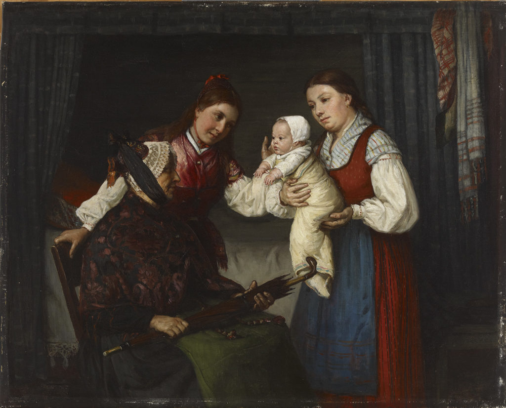 Adolf von Becker: Presenting the Baby, 1875. Ateneum Art Museum, coll. Hoving. Photo: Finnish National Gallery / Kirsi Halkola
