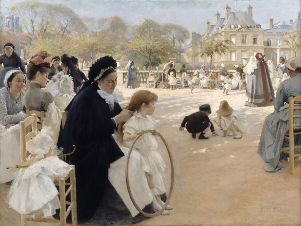 Albert Edelfelt: Pariisin Luxembourgin puistossa, 1887. Kansallisgalleria / Ateneumin taidemuseo, kok. Antell. Kuva: Kansallisgalleria / Hannu Aaltonen