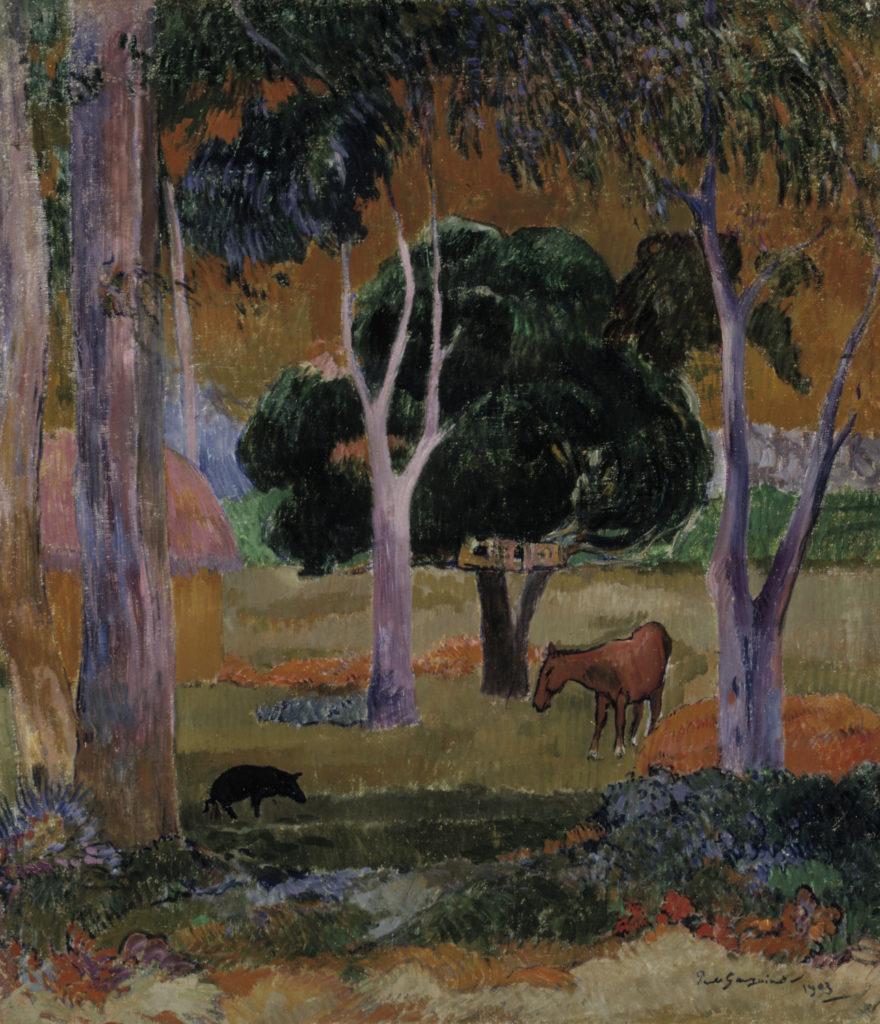 Paul Gauguin: Maisema, sika ja hevonen (Hiva Oa), 1903. Kansallisgalleria / Ateneumin taidemuseo, kok. Antell. Kuva: Kansallisgalleria / Antti Kuivalainen