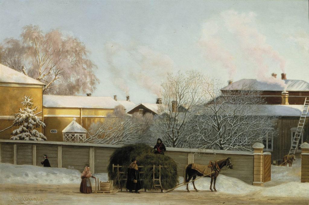 Magnus von Wright: Annankatu kylmänä talviaamuna, 1868. Kansallisgalleria / Ateneumin taidemuseo. Kuva: Kansallisgalleria / Jaakko Holm