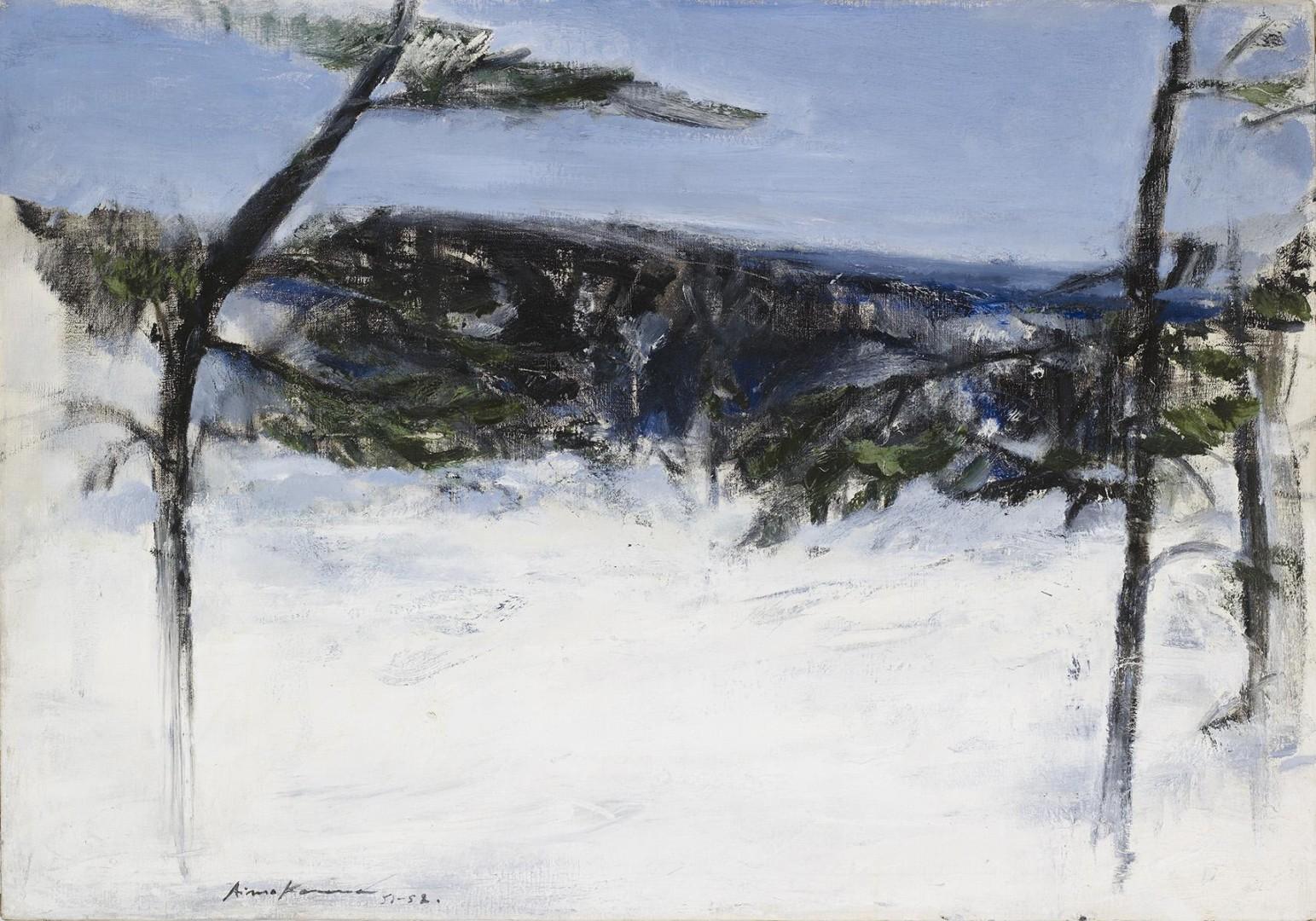 Aimo Kanerva: Talvimaisema Otalammelta, 1951–1952. Kansallisgalleria / Ateneumin taidemuseo. Kuva: Kansallisgalleria / Hannu Pakarinen