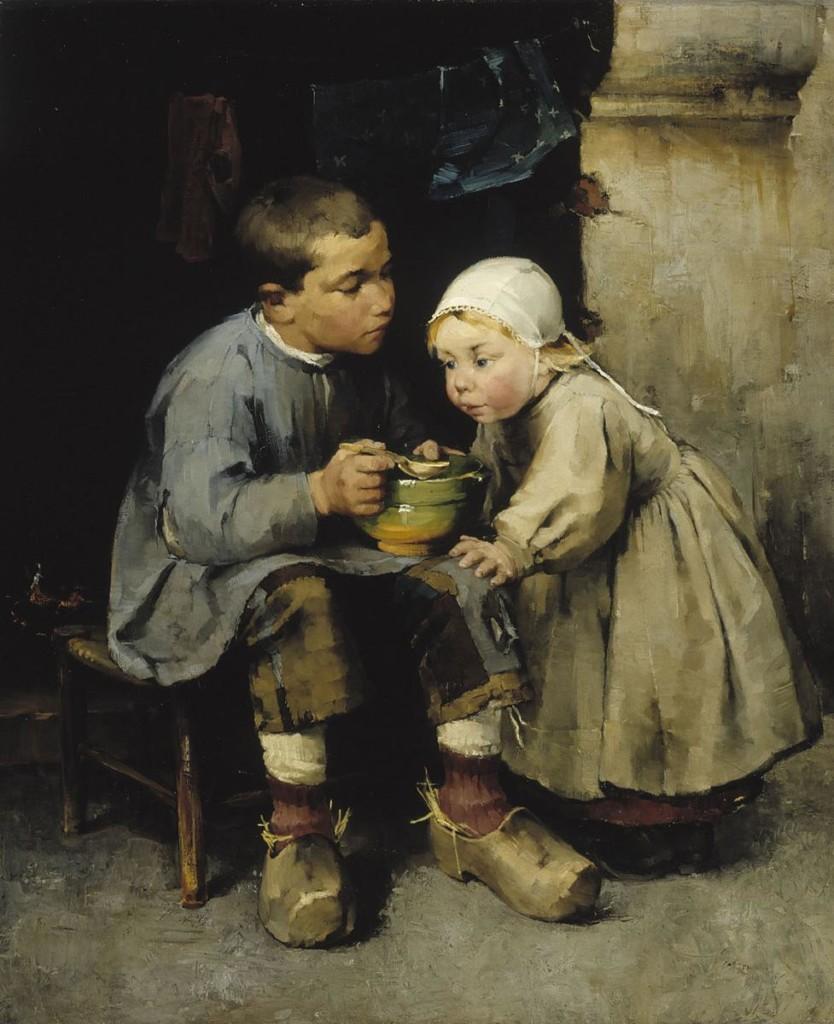 Helene Schjerfbeck: Pikkusiskoaan ruokkiva poika, 1881. Kansallisgalleria / Ateneumin taidemuseo. Kuva: Kansallisgalleria / Hannu Aaltonen