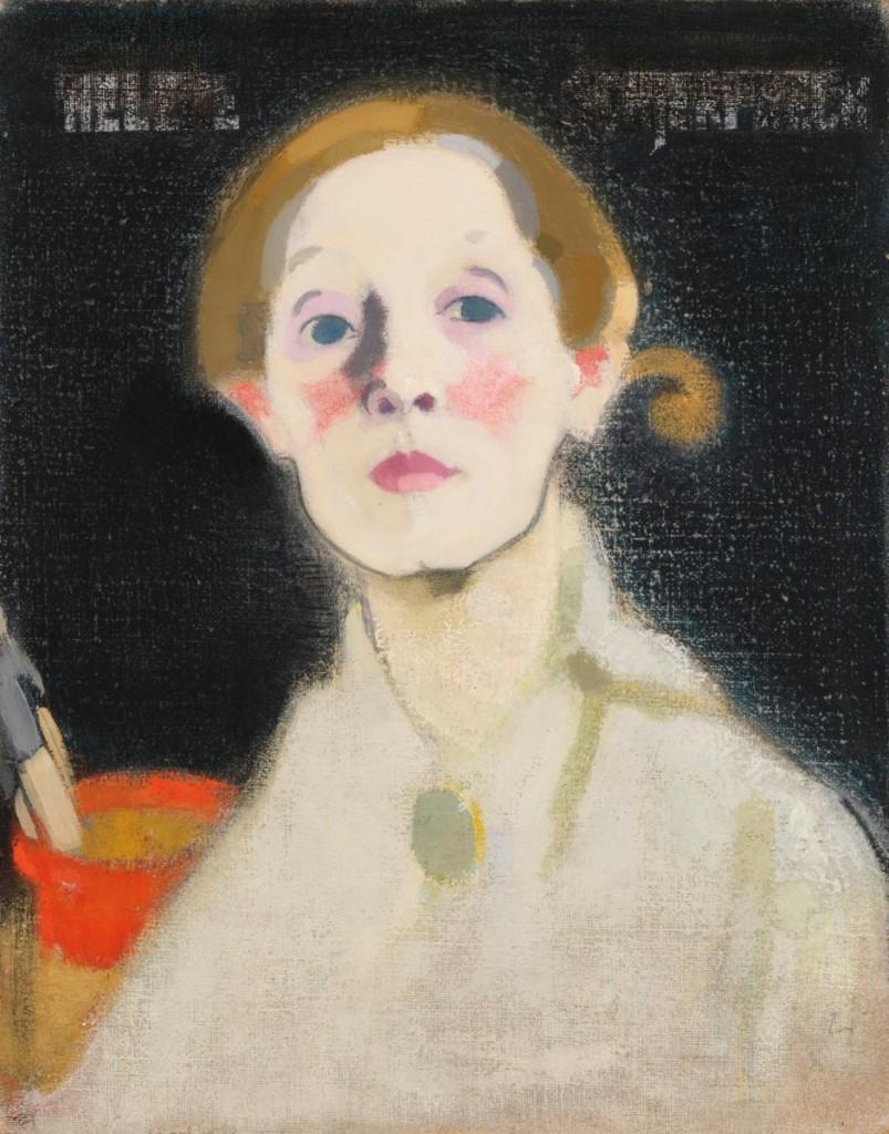 Helene Schjerfbeck: Self-Portrait, Black Background (1919)