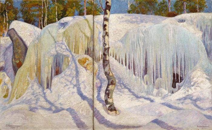 Pekka Halonen_ Jään ja lumen peittämä kallio (1911). Kansallisgalleria/Ateneumin taidemuseo, kokoelma Antell. Kuva: Kansallisgalleria/Hannu Aaltonen.
