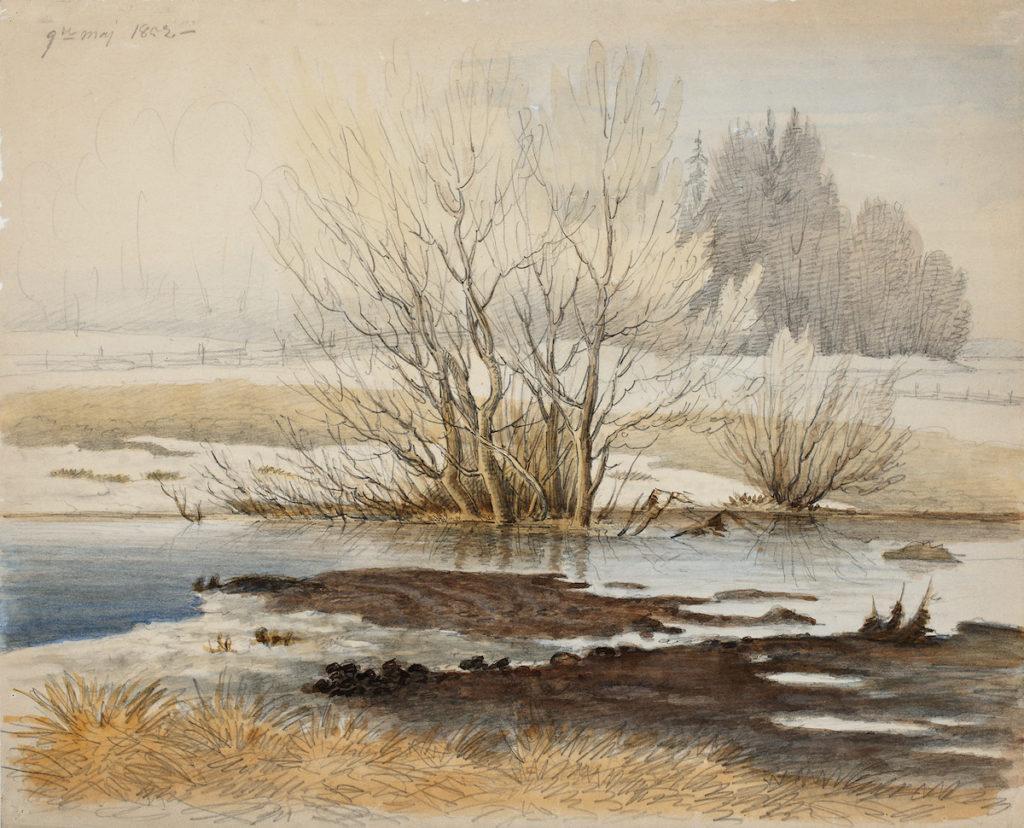 teoskuva: Magnus von Wright: Kevätmaisema (1852)