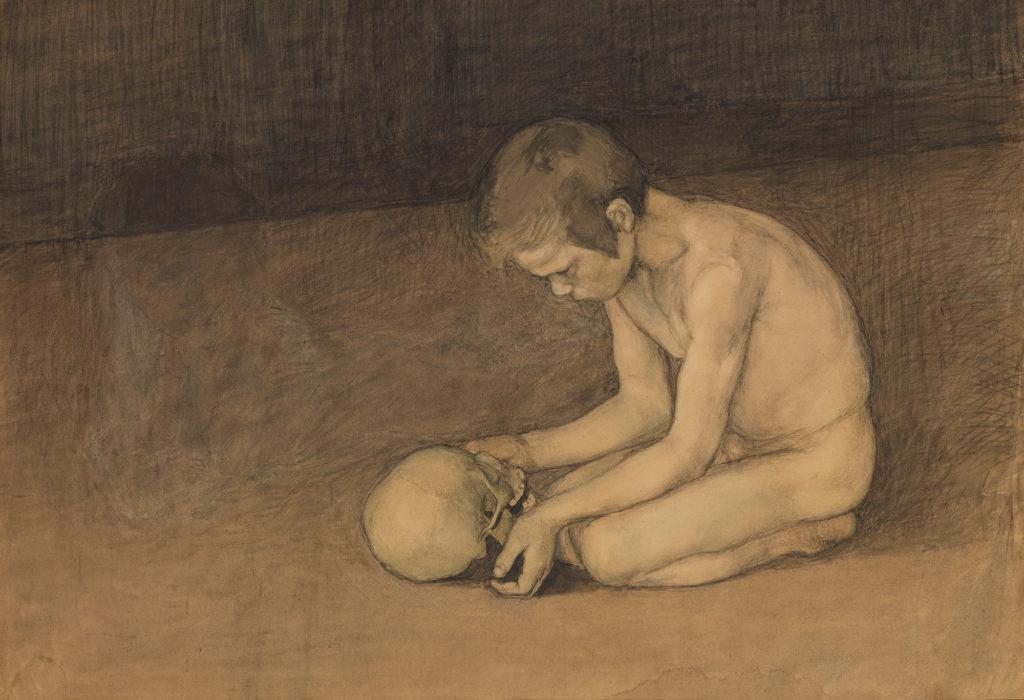 Magnus Enckell: Poika ja pääkallo (1893). Kansallisgalleria / Ateneumin taidemuseo. Kuva: Kansallisgalleria / Yehia Eweis.