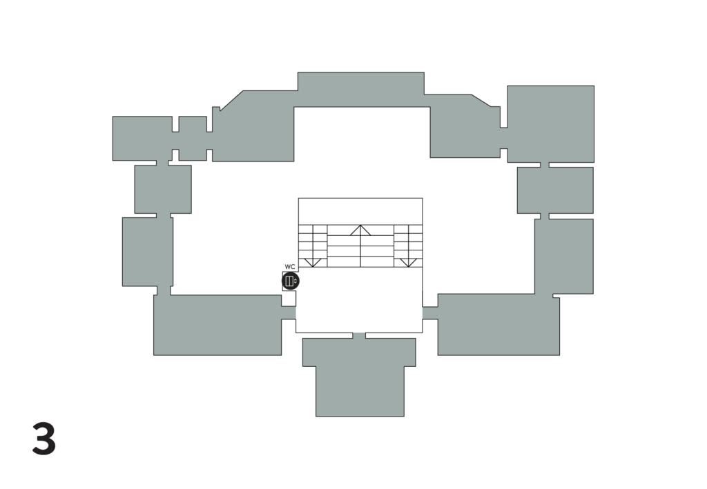 Kolmannessa kerroksessa on näyttelysaleja, Cubus-sali sekä yksi yleisö-wc