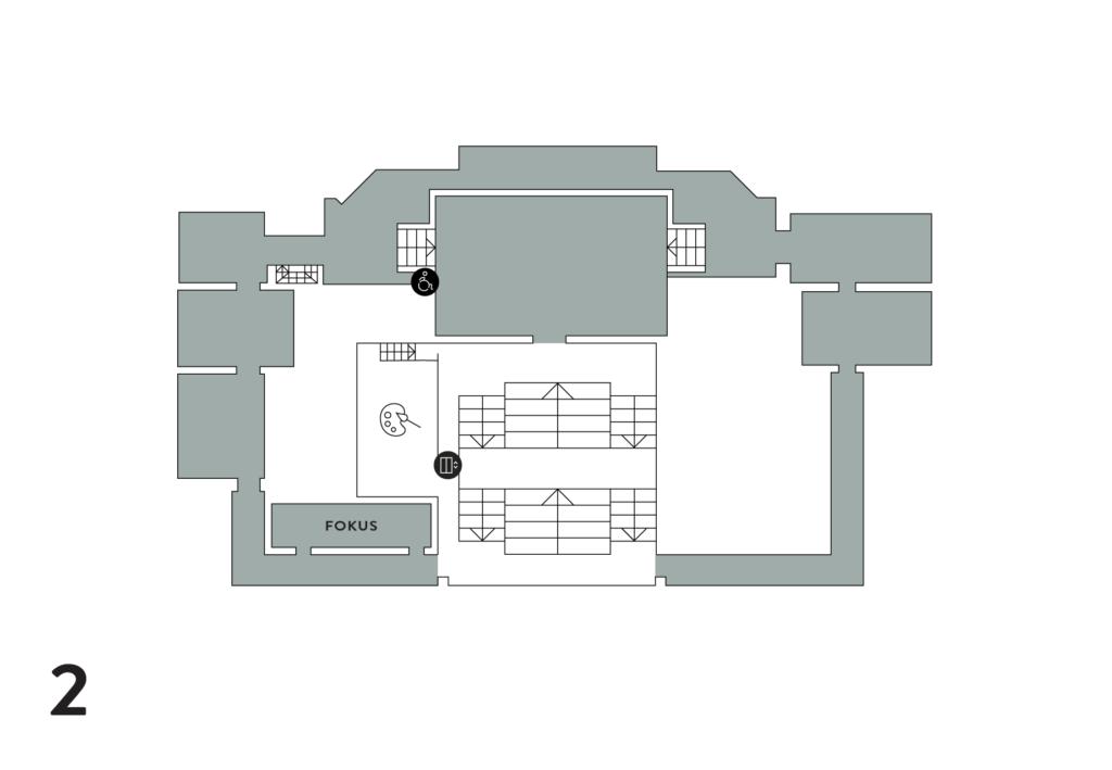 Toisessa kerroksessa sijaitsee kokoelmanäyttelyn salit ja fokus-sali sekä työpja