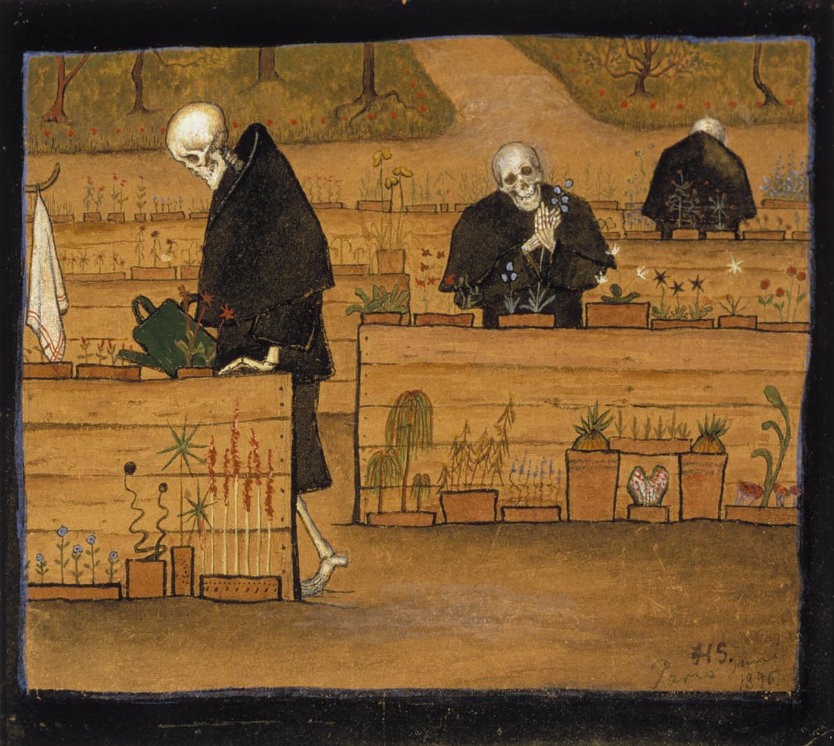 Mustaan viittaan pukeutuneet luurankohahmot hoitavat puutarhaa. Guassi.
