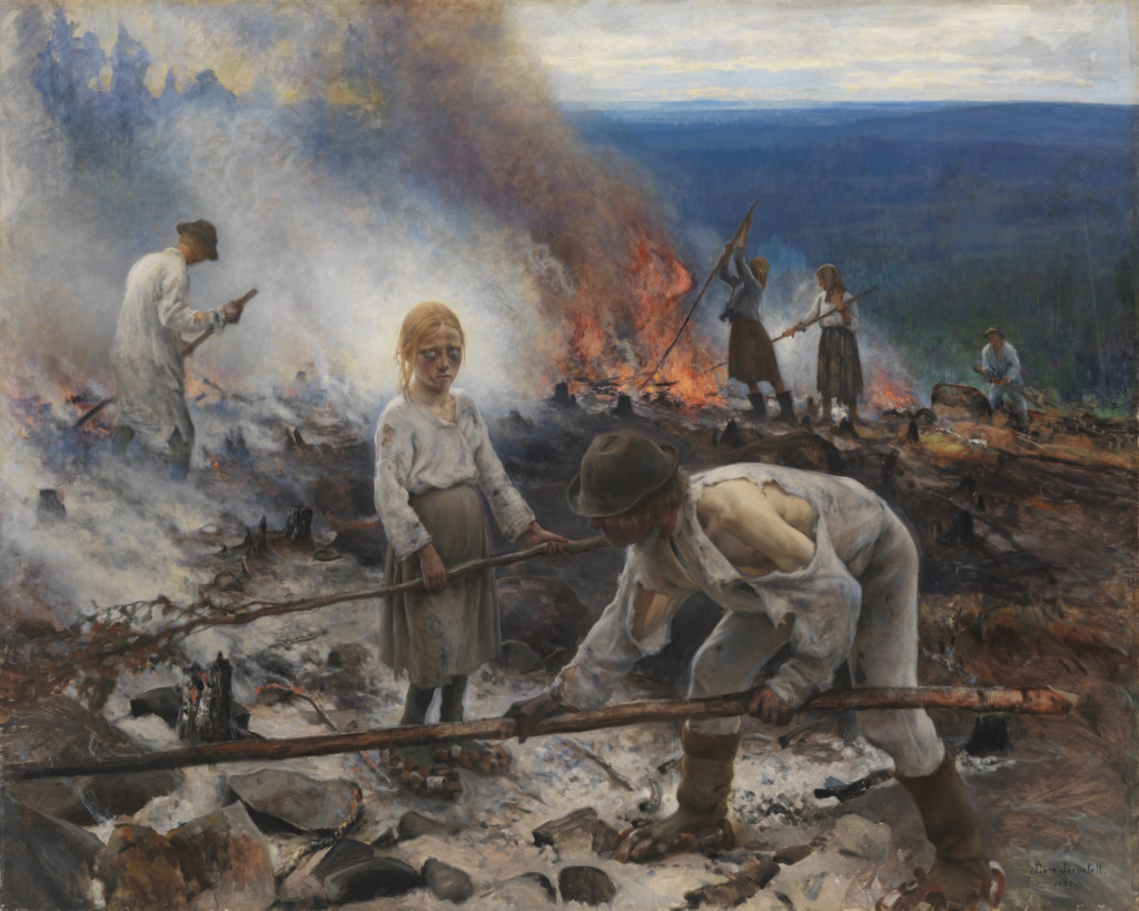Picture of Eero Järnefelt's painting Under the Yoke (Burning the Brushwood) from 1893.