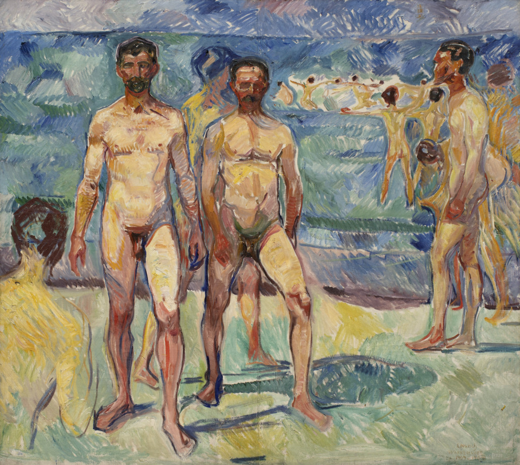 Picture of Edvard Munch's painting Bathing Men (1907-1908).