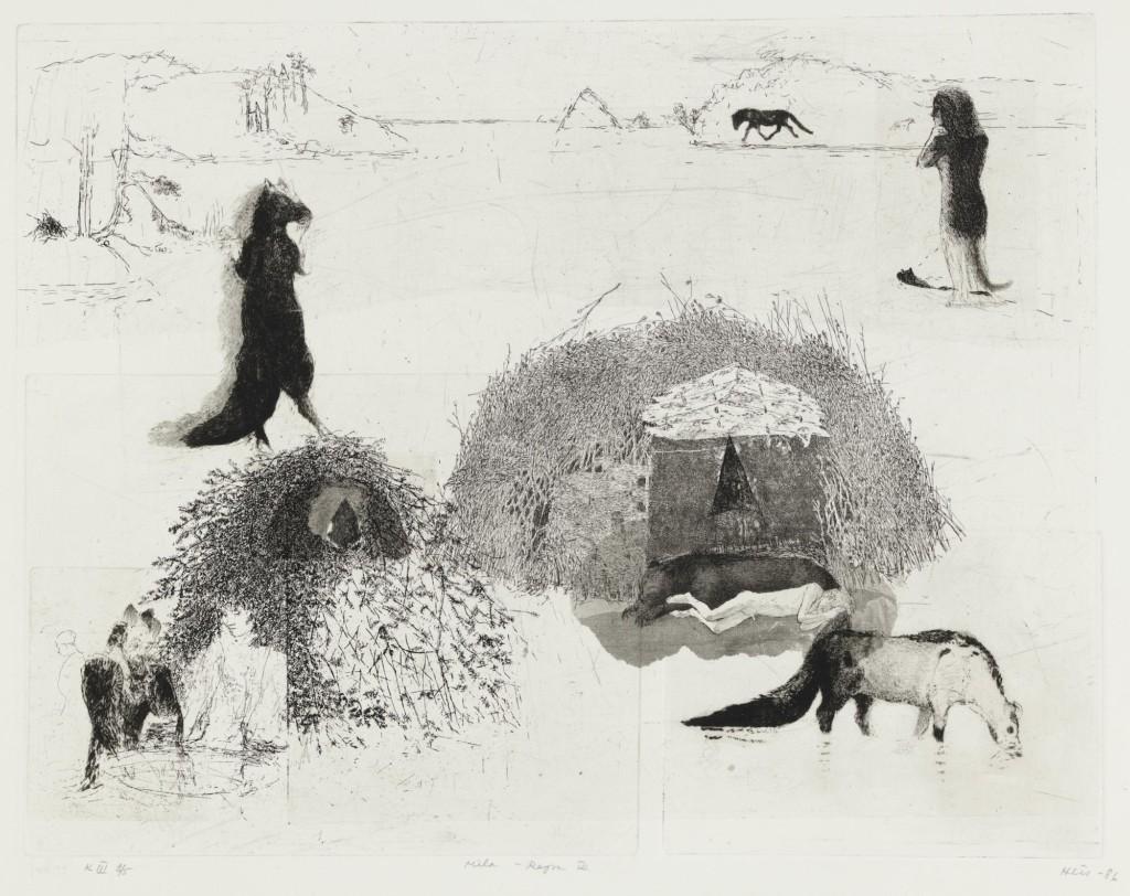 Grafiikan teoksessa on eläinmäisiä hahmoja ja risumajoja. Mustavalkoinen piirros jälki on risumaista.