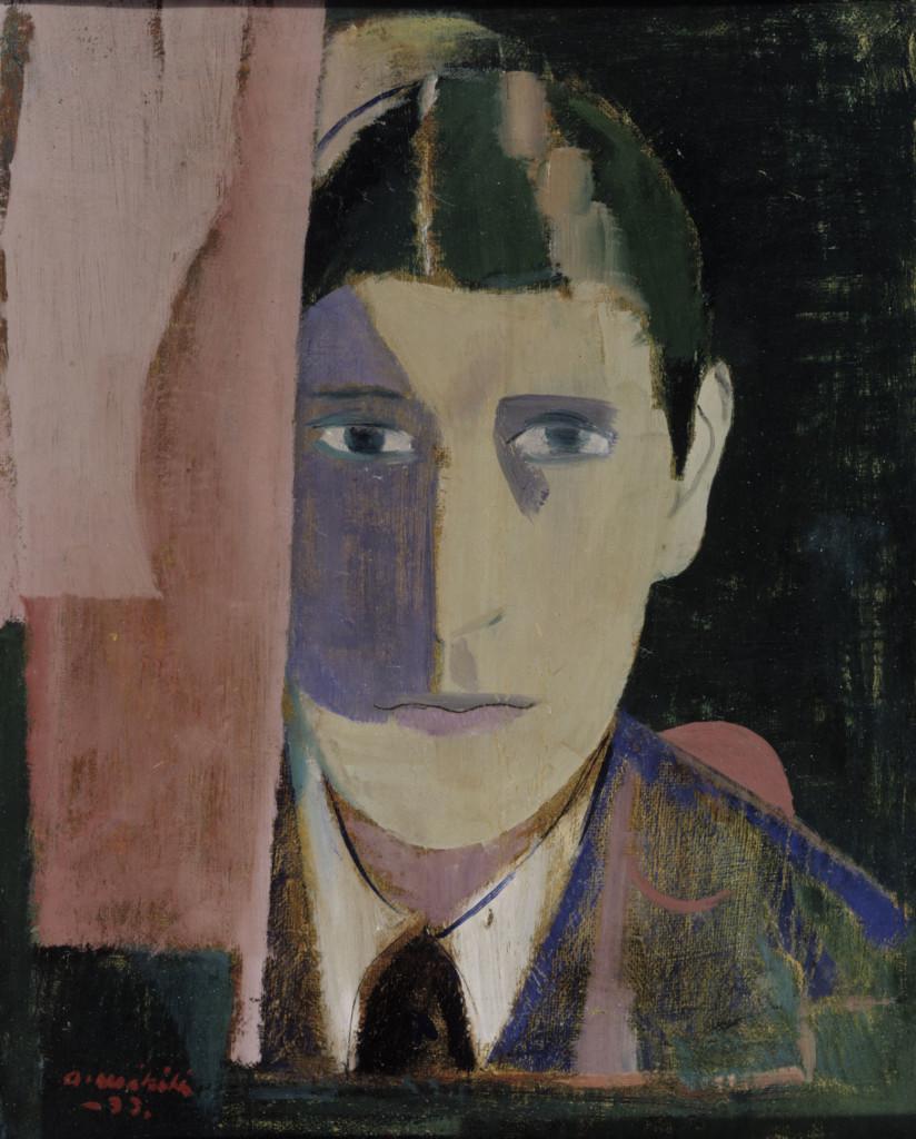 Målad bild av en man med mörkt hår och en kostym på. Verket har kubistiska drag.