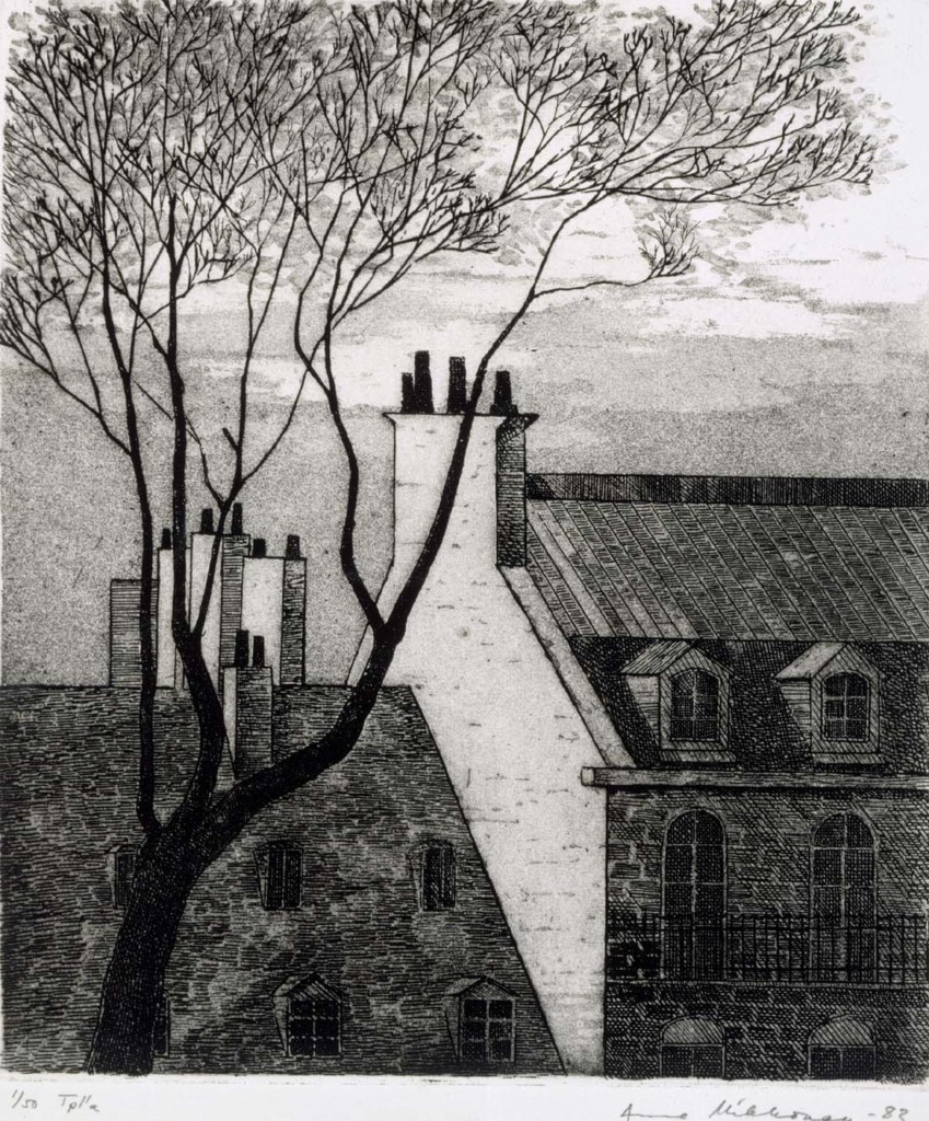 Etualalla hyvin graafinen puu, taustalla tiilisten, vanhojen kerrostalojen katot ikkunoineen ja savupiippuineen