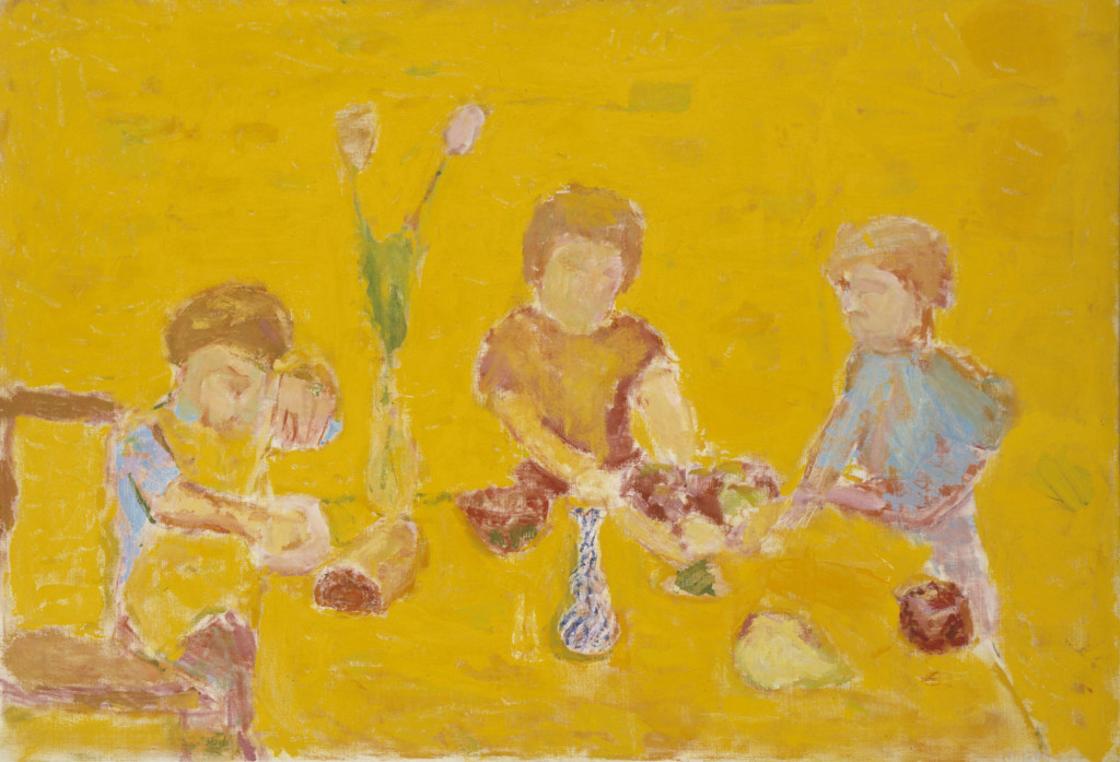 Kolme lapsihahmoa kuvattu pöydän ääreen. Teos ei ole realistinen.