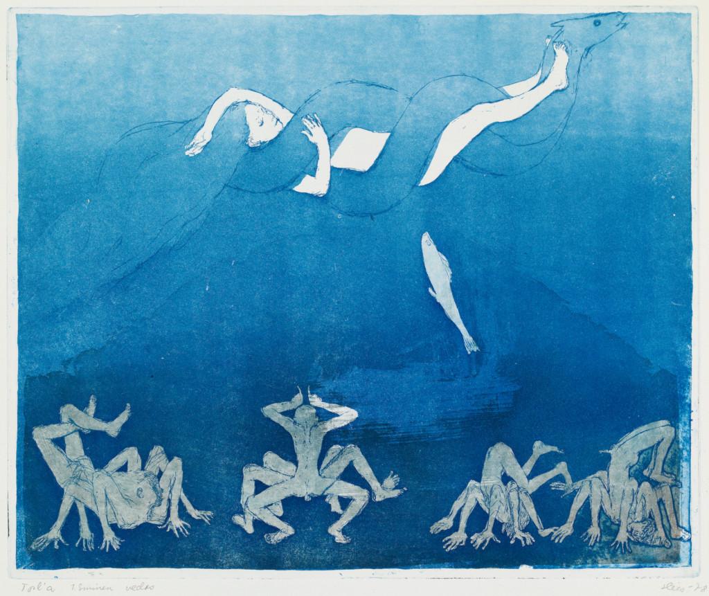 Nainen ja merikäärme ovat kietoutuneet yhteen. Sinisävyinen teos.