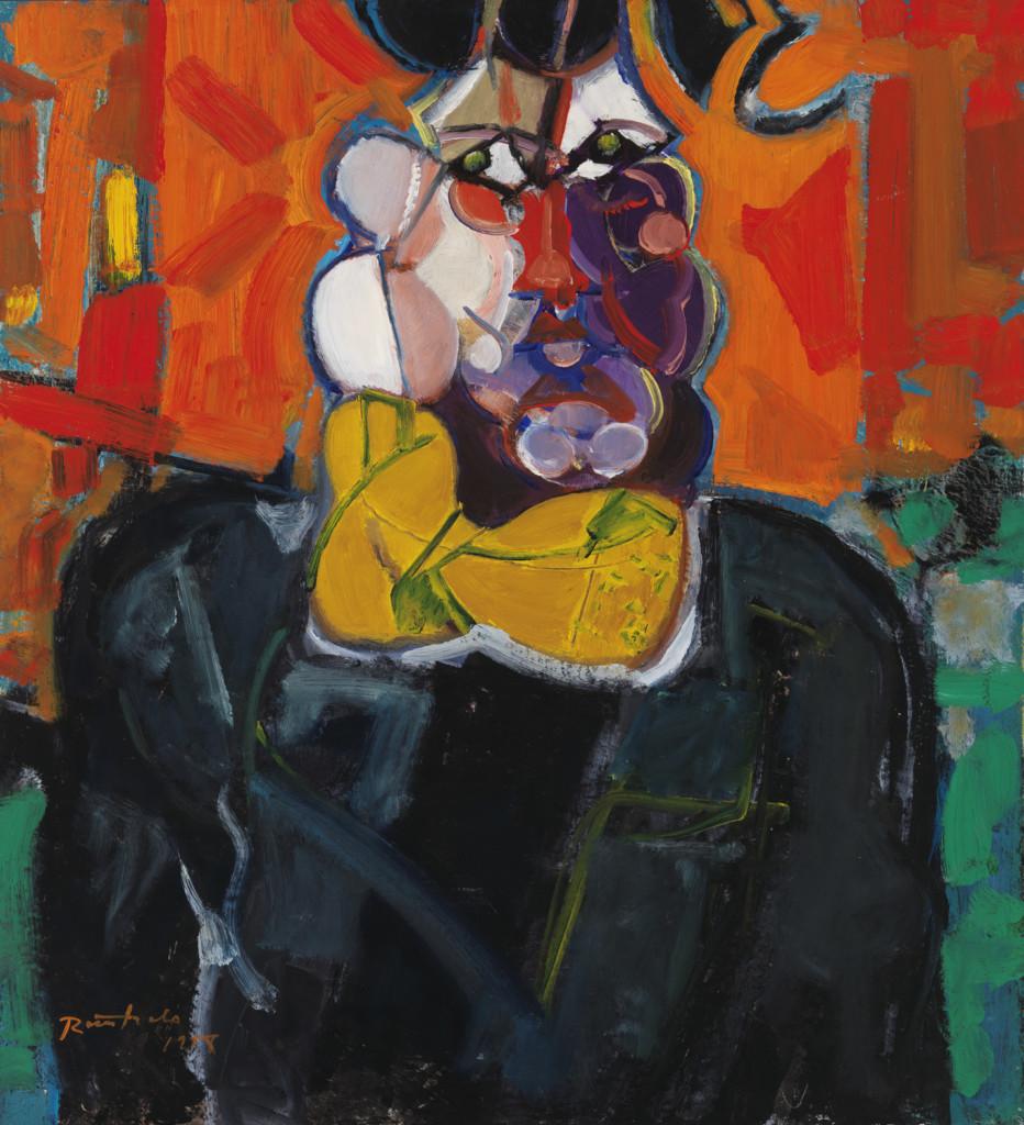Lähes abstrakti ja hyvin värikäs kuva, josta juuri ja juuri voi hahmottaa kasvot
