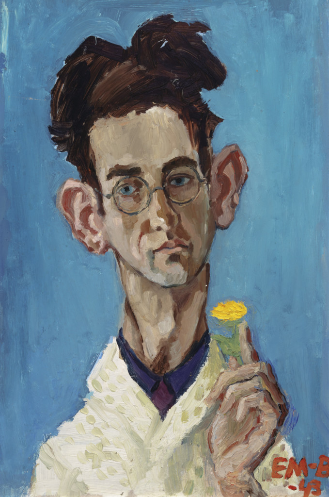 Painting of a man with spectacles, a protruding ears and dark-haired man holds a yellow flower in his hand.