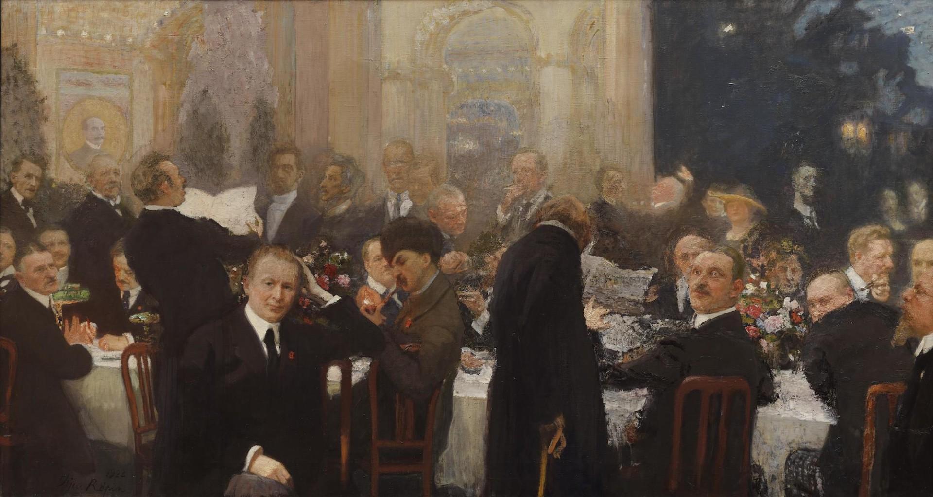 Ilja Repinin maalaus Suomen suurmiehiä, jossa kuvattuna suomalaisia taiteilijoita ja muita merkkihenkilöitä illallisella.
