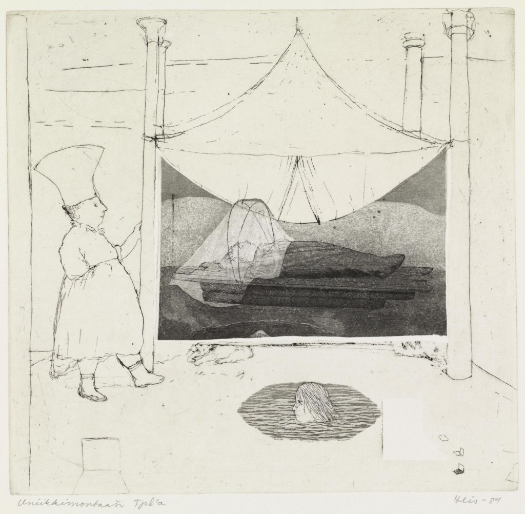 Mustavalkoinen grafiikan teos. jossa ihmishahmo makaa alustalla teltan sisällä. Toinen hahmo ui vedessä, kolmas seisoo teltan vieressä.